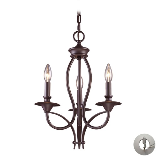 Elk Lighting Medford Oiled Bronze Mini-Chandelier - Includes Recessed Adapter Kit 61031-3-LA