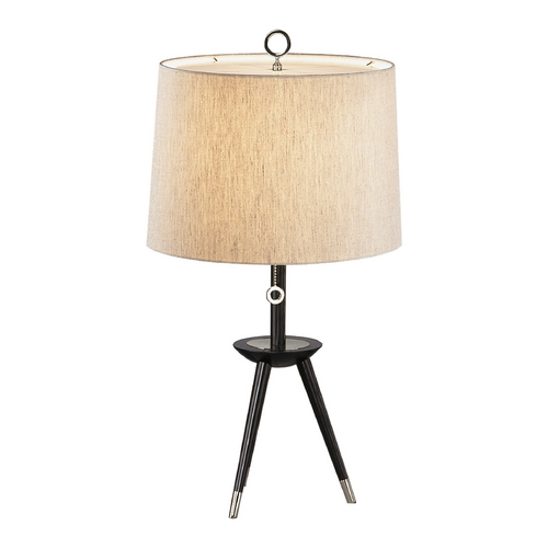 Robert Abbey Lighting Mid-Century Modern Table Lamp Polished Nickel / Wood Jonathan Adler Ventana by Robert Abbey PN670