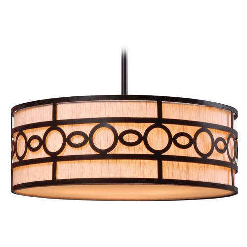 Kenroy Home Lighting Kenroy Home Lighting Vista Oil Rubbed Bronze Pendant Light with Drum Shade 93383ORB