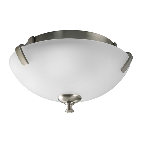 Progress Lighting Progress Flushmount Light with White Glass in Brushed Nickel Finish P3290-09