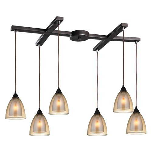 Elk Lighting Elk Lighting Layers Oil Rubbed Bronze Multi-Light Pendant with Bowl / Dome Shade 10474/6