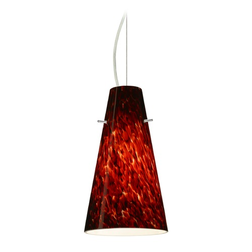 Besa Lighting Besa Lighting Cierro Satin Nickel LED Mini-Pendant Light with Conical Shade 1KX-412441-LED-SN