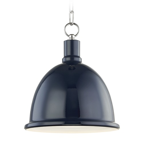 Mitzi by Hudson Valley Mitzi Blair Polished Nickel / Navy Pendant Light with Bowl / Dome Shade H238701S-PN/NVY