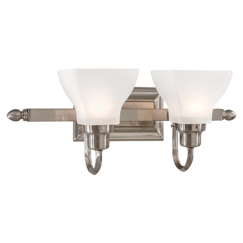 Minka Lavery Bathroom Light with White Glass in Brushed Nickel Finish 5582-84