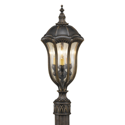 Feiss Lighting Post Light with Amber Glass in Walnut Finish OL6007WAL