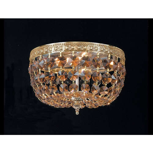 Crystorama Lighting Crystal Flushmount Light in Aged Brass Finish 710-AG-GTS