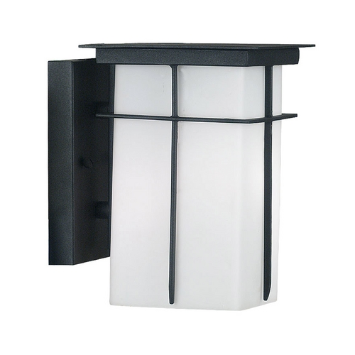Kenroy Home Lighting Modern Outdoor Wall Light with White Glass in Textured Black Finish 70000TB