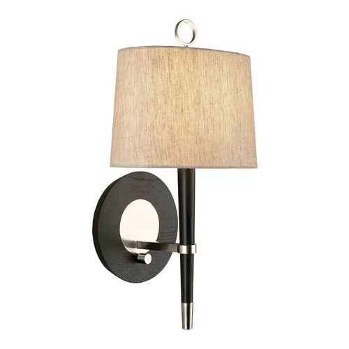 Robert Abbey Lighting Mid-Century Modern Plug-In Wall Lamp Polished Nickel / Wood Jonathan Adler Ventana by Robert Abbey PN672