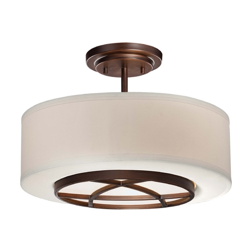 Minka Lavery Semi-Flushmount Light with White Shade in Dark Brushed Bronze Finish 4951-267B