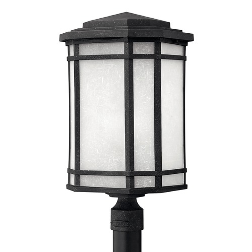 Hinkley Lighting LED Post Light with White Glass in Vintage Black Finish 1271VK-LED