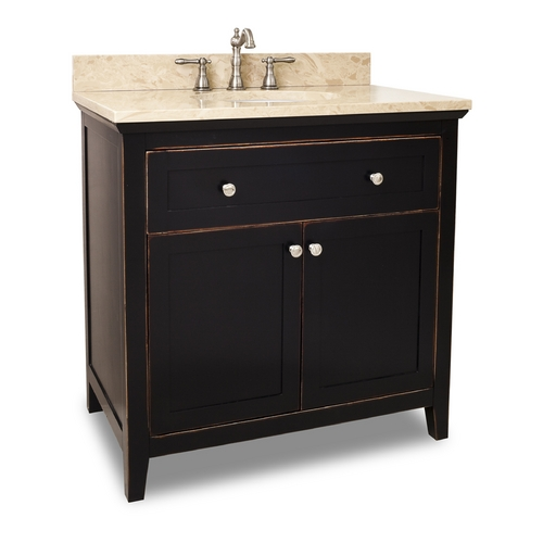 Hardware Resources Bathroom Vanity in Aged Black Finish - Pre Assembled Top and Bowl VAN093-36-T