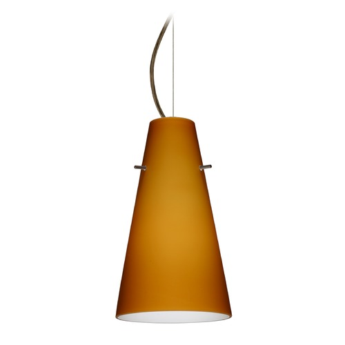 Besa Lighting Besa Lighting Cierro Bronze LED Mini-Pendant Light with Conical Shade 1KX-412480-LED-BR