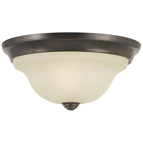 Home Solutions by Feiss Lighting Flushmount Light with Beige / Cream Glass in Grecian Bronze Finish FM250GBZ