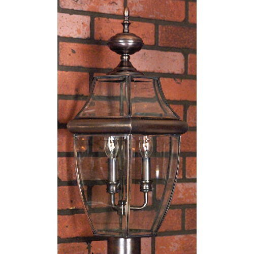 Quoizel Lighting Modern Post Light with Clear Glass in Aged Copper Finish NY9043AC