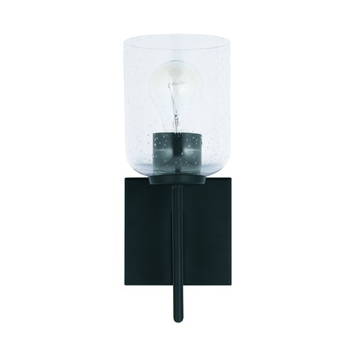 HomePlace by Capital Lighting HomePlace Carter Matte Black Sconce with Clear Seeded Glass 639311MB-500