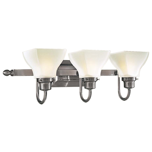 Minka Lavery Bathroom Light with White Glass in Brushed Nickel Finish 5583-84