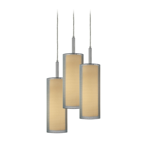 Sonneman Lighting Modern Multi-Light Pendant Light with Silver Shades and 3-Lights 6003.13F
