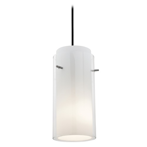 Access Lighting Modern Mini-Pendant Light with White Glass 28033-1C-ORB/CLOP