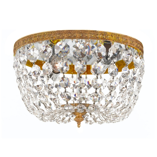 Crystorama Lighting Crystal Flushmount Light in Olde Brass Finish 710-OB-CL-MWP