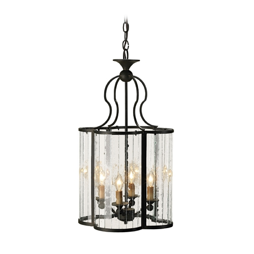 Currey and Company Lighting Pendant Light with Clear Glass in Old Iron Finish 9469