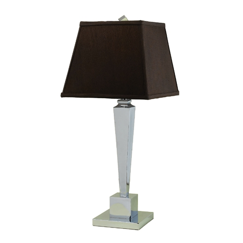AF Lighting Modern Table Lamp with Brown Shade in Chrome Finish 6775-TL