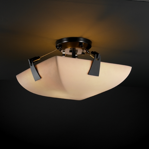 Justice Design Group Justice Design Group Porcelina Collection Semi-Flushmount Light PNA-9630-25-SMTH-MBLK
