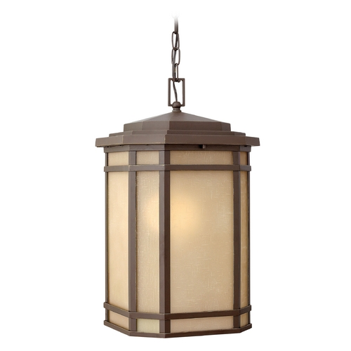 Hinkley Lighting Outdoor Hanging Light with Amber Glass in Oil Rubbed Bronze Finish 1272OZ-GU24