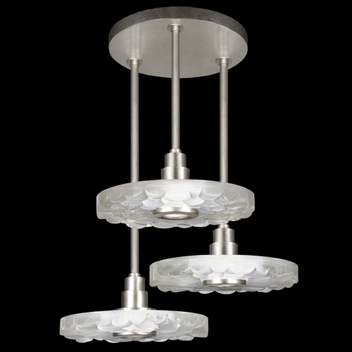 Fine Art Lamps Fine Art Lamps Crystal Bakehouse Silver Leaf Multi-Light Pendant with Drum Shade 823640-34ST