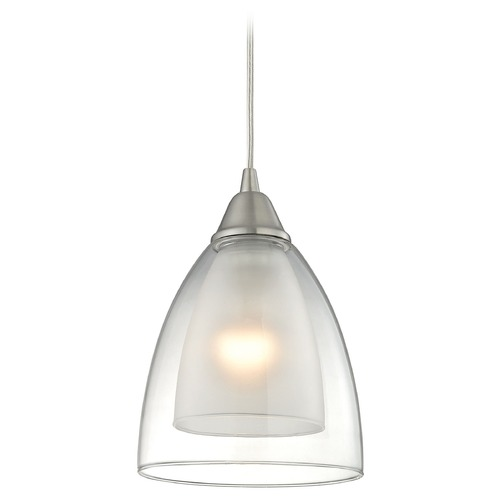 Elk Lighting Elk Lighting Layers Satin Nickel Mini-Pendant Light with Bowl / Dome Shade 10464/1