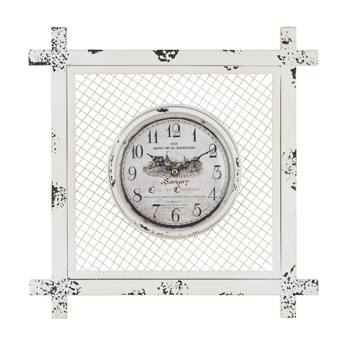 Sterling Lighting Vintage Style Clock in Square Mesh 171-013