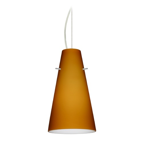 Besa Lighting Besa Lighting Cierro Satin Nickel LED Mini-Pendant Light with Conical Shade 1KX-412480-LED-SN