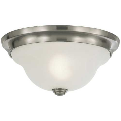 Home Solutions by Feiss Lighting Flushmount Light with Alabaster Glass in Brushed Steel Finish FM250BS