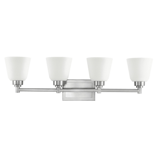 Kichler Lighting Kichler Bathroom Light with White Glass in Brushed Nickel Finish 5151NI