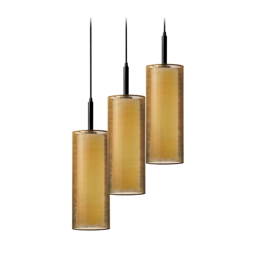 Sonneman Lighting Modern Multi-Light Pendant Light with Brown Shades and 3-Lights 6003.51F