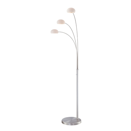 Lite Source Lighting Modern Arc Lamp with White Glass in Polished Steel Finish LS-81673PS/FRO
