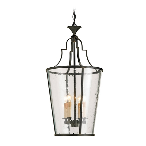Currey and Company Lighting Pendant Light with Clear Glass in Old Iron Finish 9468