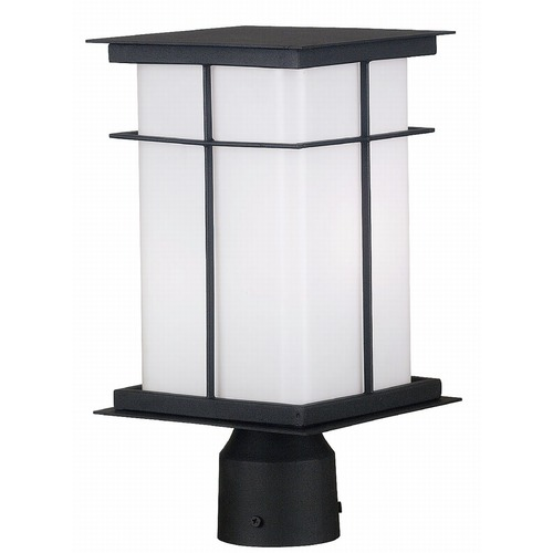 Kenroy Home Lighting Modern Post Light with White Glass in Textured Black Finish 70003TB
