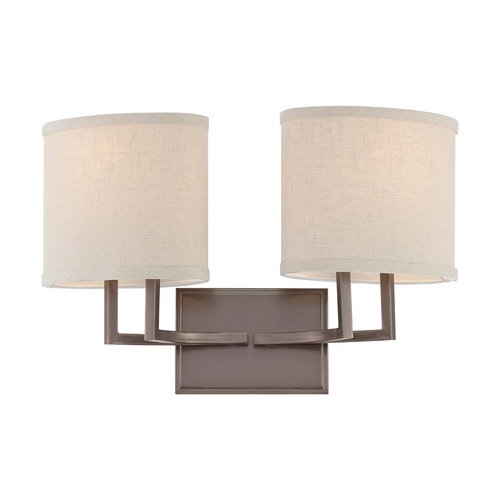Nuvo Lighting Modern Bathroom Light with Beige / Cream Shades in Hazel Bronze Finish 60/4852