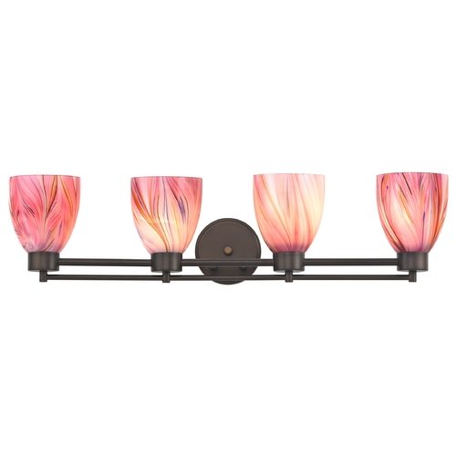 Design Classics Lighting Modern Bathroom Light with Pink Art Glass - Four Lights 704-220 GL1004MB