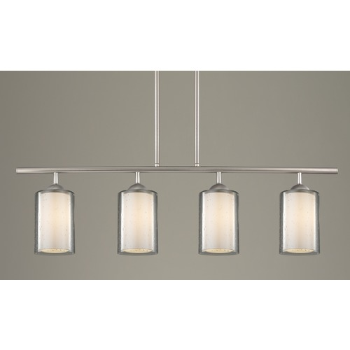 Design Classics Lighting Modern 4-Light Linear Pendant Light Seeded Clear / Frosted White Glass Satin Nickel 718-09 GL1061 GL1041C