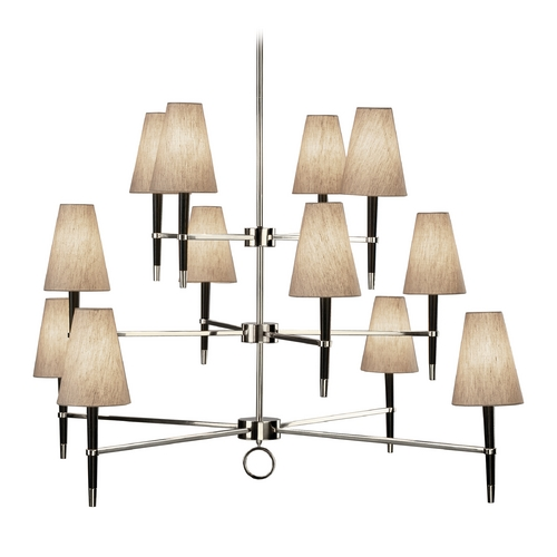 Robert Abbey Lighting Robert Abbey Jonathan Adler Ventana 3-Tier 12-Light Chandelier in Polished Nickel / Ebony Wood PN674