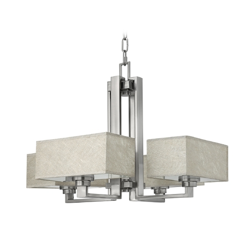 Frederick Ramond Chandelier with Grey Shades in Brushed Nickel Finish FR49454BNI