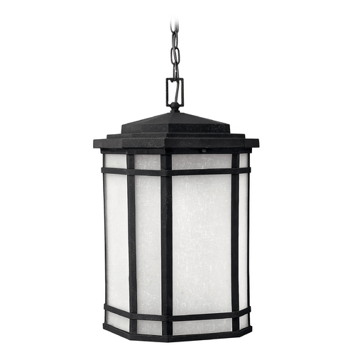 Hinkley Lighting Outdoor Hanging Light with White Glass in Vintage Black Finish 1272VK-GU24