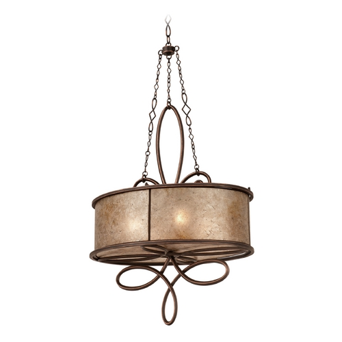 Kalco Lighting Kalco Lighting Whitfield Antique Copper Pendant Light with Drum Shade 6579AC