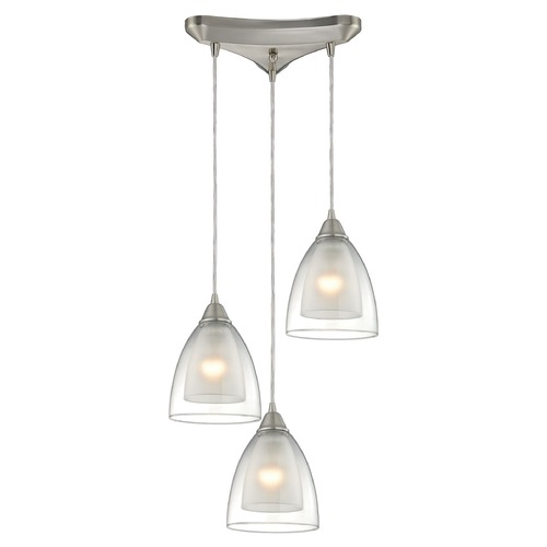 Elk Lighting Elk Lighting Layers Satin Nickel Multi-Light Pendant with Bowl / Dome Shade 10464/3