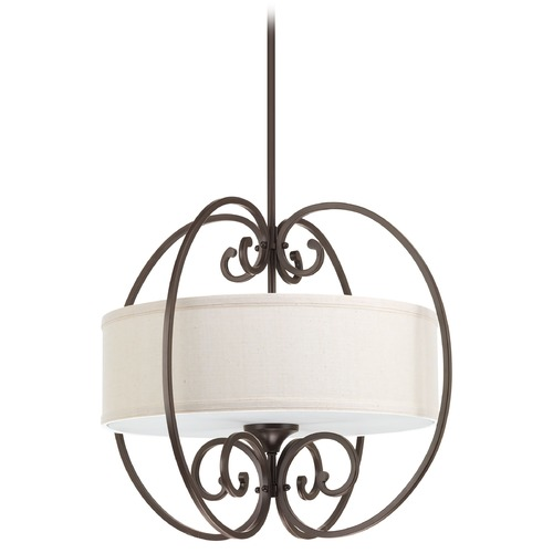 Progress Lighting Progress Lighting Overbrook Antique Bronze Pendant Light with Drum Shade P5335-20