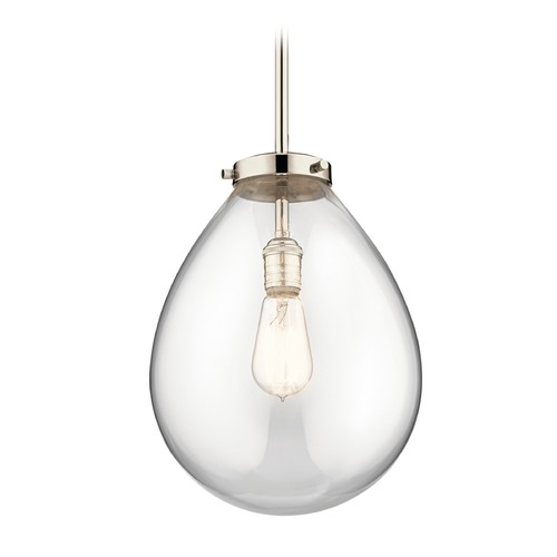 Kichler Lighting Modern Pendant Light Polished Nickel Claudia by Kichler Lighting 43295PN