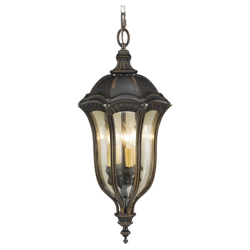 Feiss Lighting Outdoor Hanging Light with Amber Glass in Walnut Finish OL6012WAL