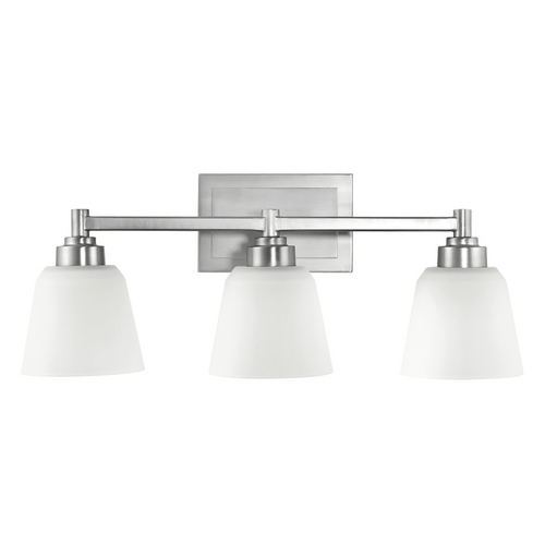 Kichler Lighting Kichler Bathroom Light with White Glass in Brushed Nickel Finish 5150NI