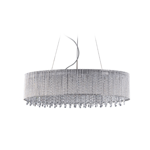 ET2 Lighting Modern Drum Pendant Light in Polished Chrome Finish E23144-10PC